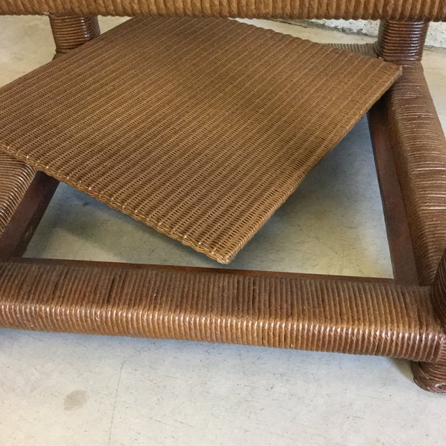Janus Et Cie Wicker & Glass Top End Tables For Sale In Richmond - Image 6 of 11