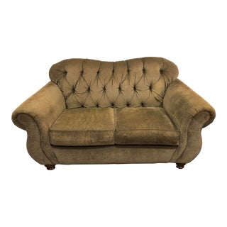 Modern Traditional Style Olive Green Tufted Loveseat Sofa For Sale