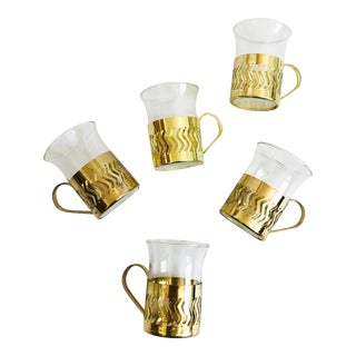 Vintage Small Glass Cups in Brass Holders - Set of 5 For Sale
