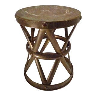 Vintage Brass Garden Stool Plant Stand For Sale