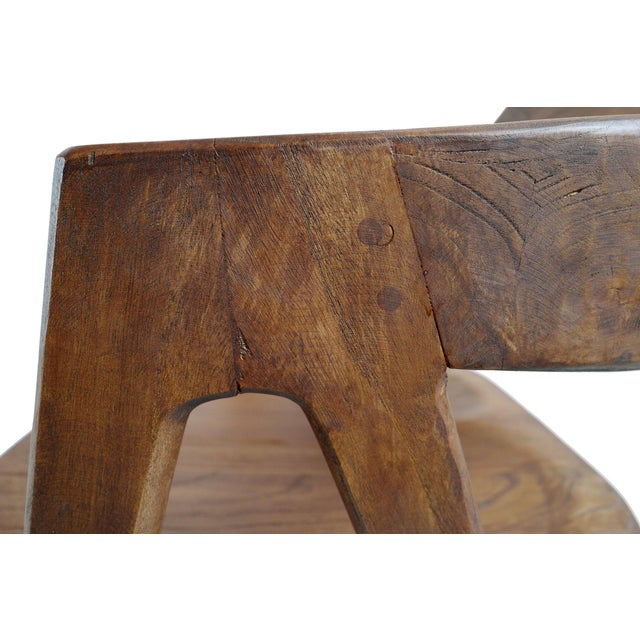 Brown Elm Wood Deco Dining Chair For Sale - Image 8 of 10