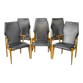 Lane Mid Century Modern Walnut Bentwood High Back Dining Chairs - Set of 6