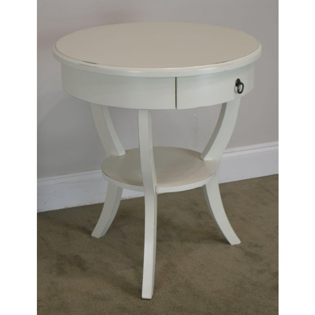 High Quality Round White Lacquer Painted One Drawer Side Table