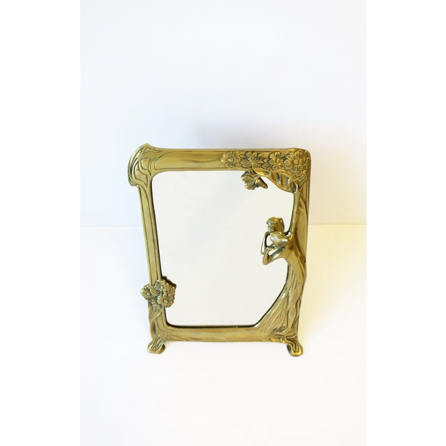 Art Nouveau Brass Vanity Mirror in the Art Nouveau Style For Sale - Image 3 of 12