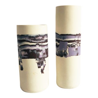 Pair of Vintage Abstract Purple Cylinder Vases For Sale