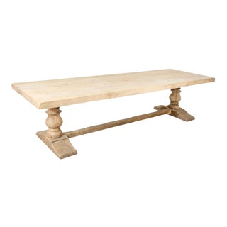 19th Century French Bleached Oak Monastery Trestle Table For Sale