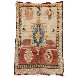 "Vintage Berber Moroccan Modern Tribal ""Star of Solomon"" Rug - 6′2″ × 9′9″ For Sale"