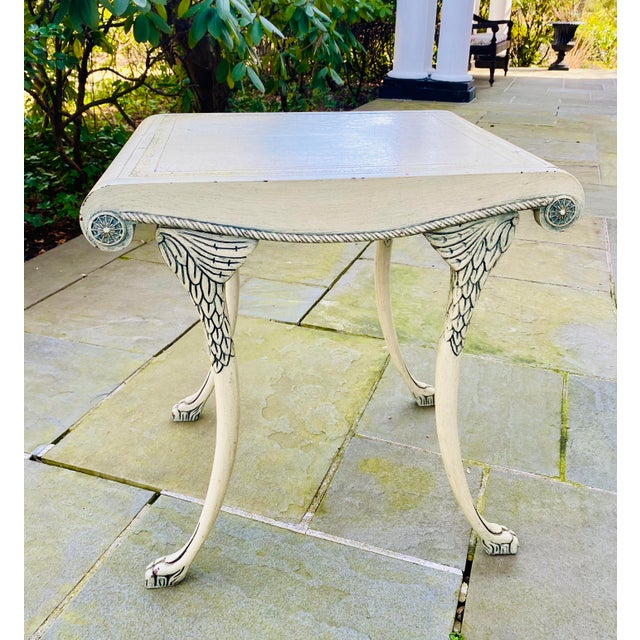English Scroll Table With Faux Painted Detail For Sale - Image 10 of 11