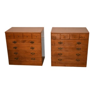 Vintage Ethan Allen Maple Early American Style Bachelors Chests - a Pair For Sale