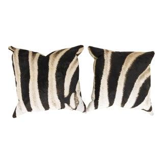 Zebra Hide Pillows - a Pair For Sale