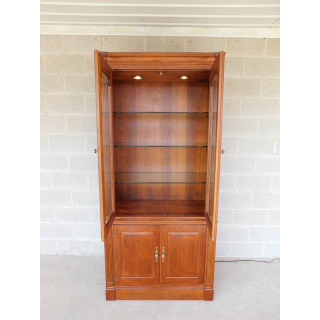 """Stickley Cherry 4 Door Bookcase Lighted Display Wall Cabinet Model 4740 """"B"""" For Sale - Image 9 of 13"""