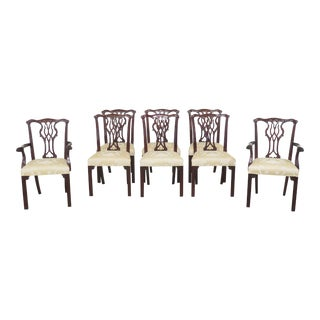 1990s Vintage Councill Craftsmen Chippendale Mahogany Dining Chairs- Set of 8 For Sale