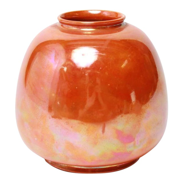 Ruskin English Orange Lustre Pottery Vase For Sale
