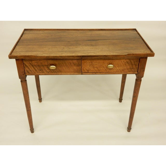 18th century rustic French Provincial two drawer walnut side table.