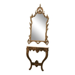 Antique Rococo Gilt Mirror and Marble Top Gilt Table Set...can Be Sold Seperatly For Sale