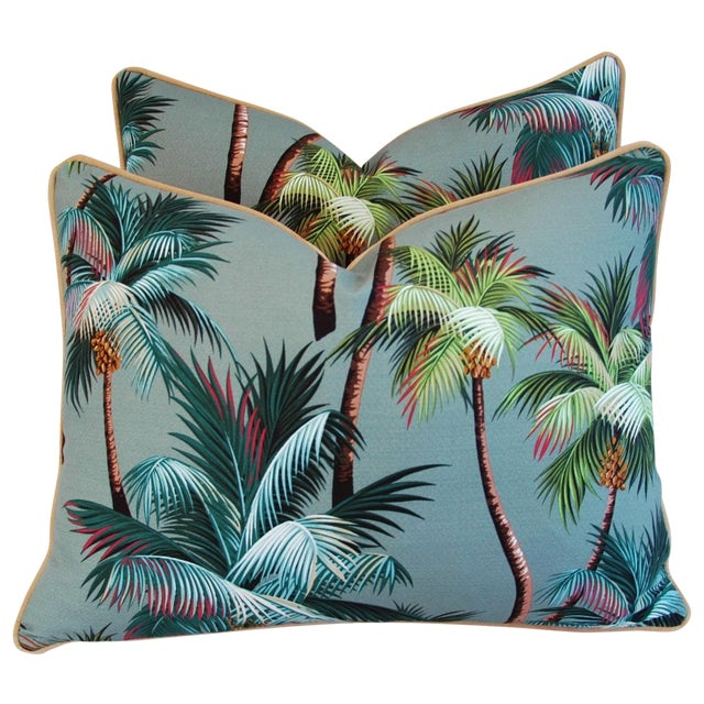 "Oasis Palm Tree Barkcloth Feather/Down Pillows 24"" X 18"" - Pair For Sale"