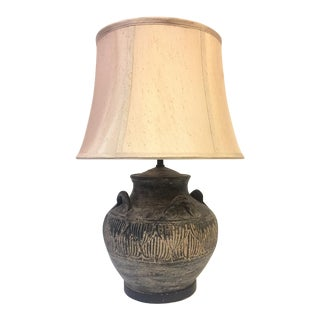 1960s Handled Stoneware Table Lamp With Shade For Sale