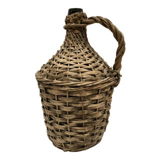 French Wicker Wrapped Demijohn Jug For Sale