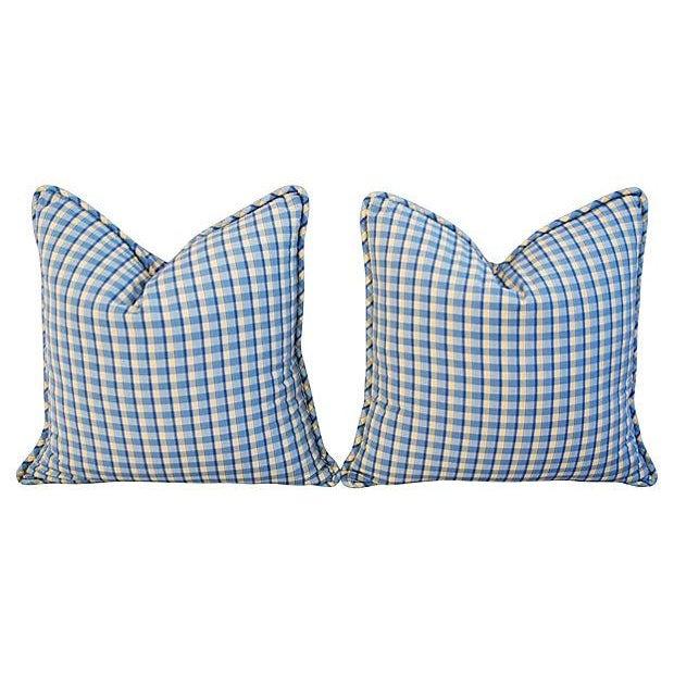 Custom-Made English Plaid Gingham Pillows - A Pair - Image 2 of 7