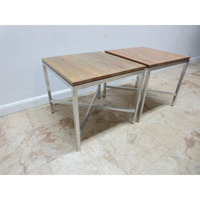 Pair of vintage Mid Century walnut and aluminum Tomlinson Milo Baughman end tables. Great shape, tight and sturdy. Light...