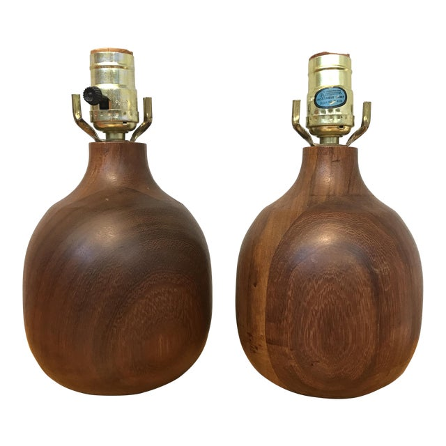 Solid Wood Lamps - a Pair - Image 1 of 5