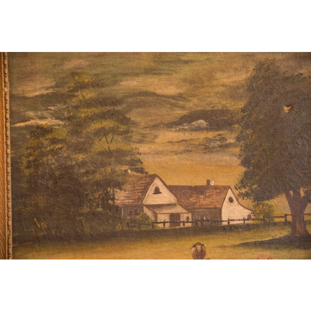 Sheep Grazing Antique Painting For Sale In New York - Image 6 of 11