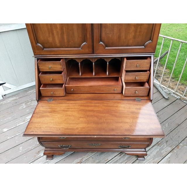 Vintage Drexel Wallace Nutting Bombe Kettle Base Blind Door Secretary Desk For Sale - Image 9 of 13