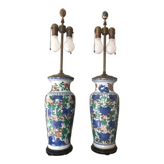 Early 20th Century Antique Chinese Style Handpainted Porcelain Dual Light Table Lamps - a Pair For Sale