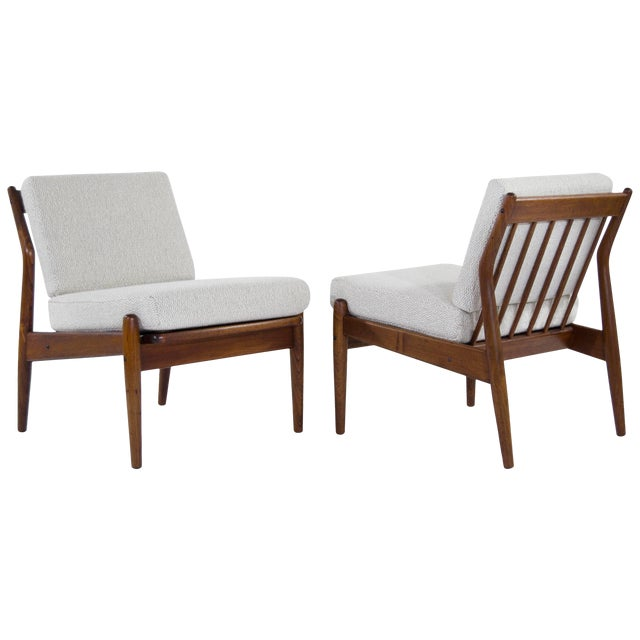 Scandinavian Modern Wool Upholstered Teak Slipper Chairs - a Pair For Sale