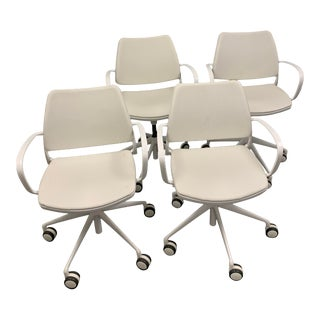 White Leather Rolling Task Chairs - Set of 4 For Sale