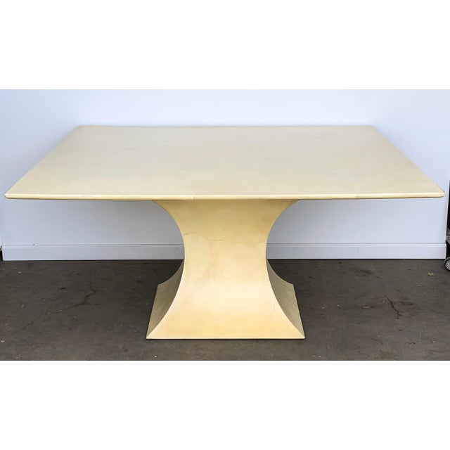 Mid-Century Modern Karl Springer Lacquered Square Goatskin Parchment Dining Table W/ Coa For Sale - Image 3 of 9