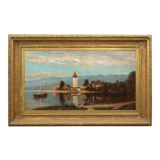 """""""Lakeview"""" (1868) American Antique Landscape Painting by Frank Henry Shapleigh For Sale"""