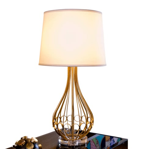 Contemporary Contemporary Worlds Away Westin Lamp in Gold Leaf With Acrylic Base For Sale - Image 3 of 5