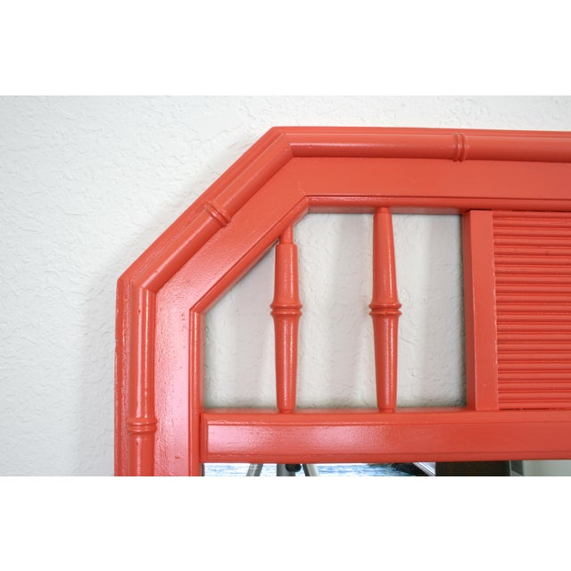Chinoiserie Coral Faux Bamboo Hollywood Regency Mirror For Sale - Image 3 of 5