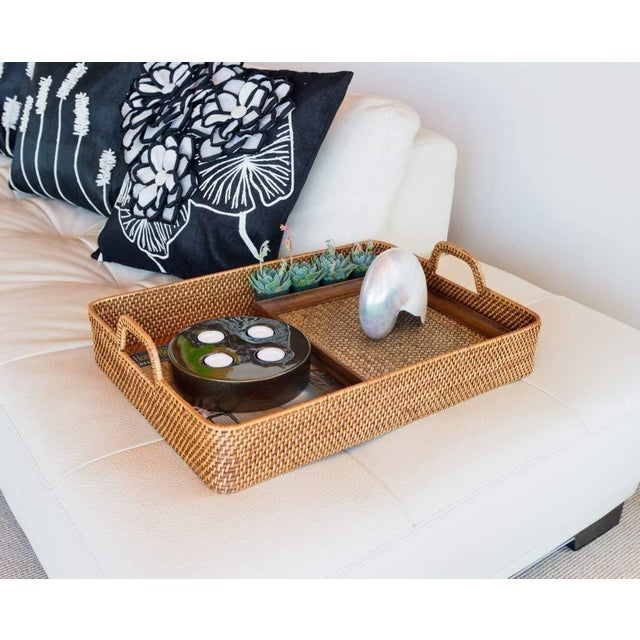 2010s Cottage Style Rattan Woven Large Handled Tray For Sale - Image 5 of 9