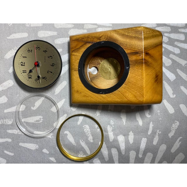 1960s Myrtlewood Battery Operated French Quartz Clock For Sale - Image 4 of 10