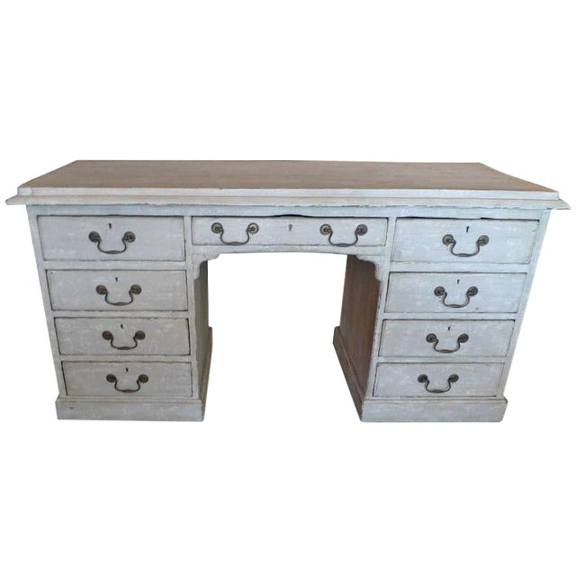 19th Century English XIX Painted Knee-Hole Partner Desk For Sale