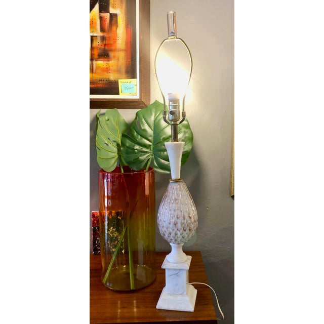 Mid Century Italian Murano Glass and Alabaster Table Lamp in the Style of Marbro For Sale - Image 10 of 13