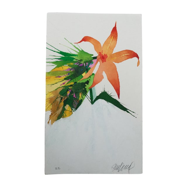 """Burst of Orange"" Original Watercolor - Image 1 of 3"