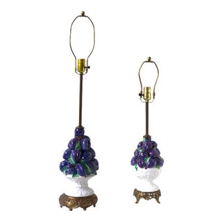 Friendly Vintage Italian Ceramic Fruit Topiary Lamps - a Pair For Sale