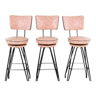 Set of Three Kitch Mid-century Bar Stools With Pink Upholstery, Black Piping For Sale