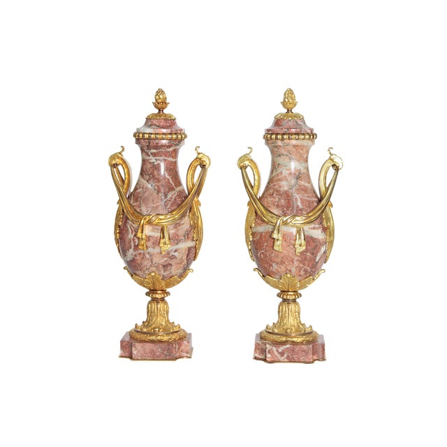 Pair of 19th Century Louis XVI Style Marble and Ormolu Mounted Cassolettes - Image 11 of 11
