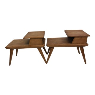 Vintage Mid Century Modern Step Tables - a Pair by Heywood Wakefield For Sale