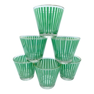Mid-Century Mint Green Stripe Whisky Cocktail Glasses - Set of 6 For Sale