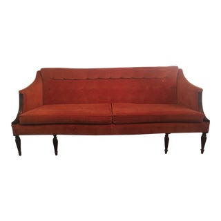 Vintage Rust Orange Velvet Sofa
