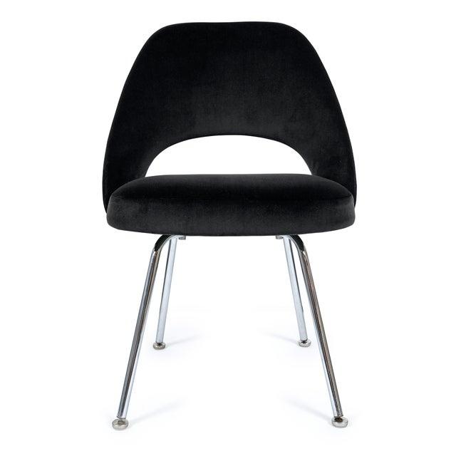 Saarinen Executive Armless Chairs in Noir Velvet - Set of 6 - Image 4 of 5