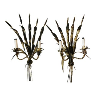 1940s Vintage Hollywood Regency Sheaf of Wheat Sconces - a Pair For Sale