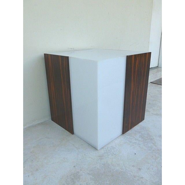 1970s Mid Century Modern Rosewood & Acrylic Floor Lamp Table For Sale - Image 11 of 13
