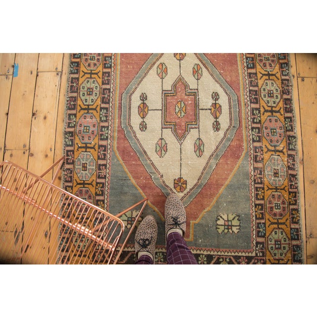 "Boho Chic Vintage Distressed Oushak Rug Runner -3'11"" x 9'2"" For Sale - Image 3 of 11"