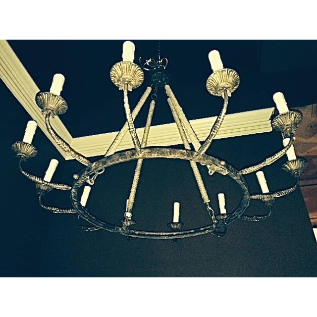 Country Pair of Twelve-Arm Metal Chandeliers of Large-Scale. Priced Per Chandelier For Sale - Image 3 of 4